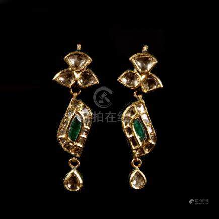 23 Carat Gold and Diamond Earrings with Emerald