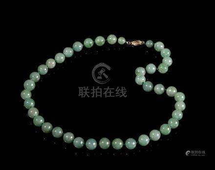 14 Carat Gold and Jade Beads Necklace