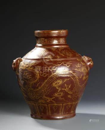 Chinese Brown Glazed Gilt-Decorated Dragon Jar