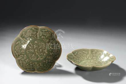 Pair of Chinese Yaozhou Carved Foliate Dishes