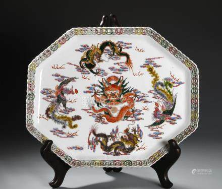 Chinese Famille Rose Hexagonal Dragon Dish