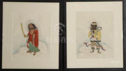 Chinese Two Framed Paintings of Luohan