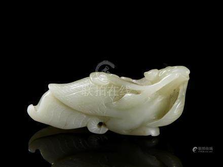 Chinese Pale Green Jadeite Snail-Fish