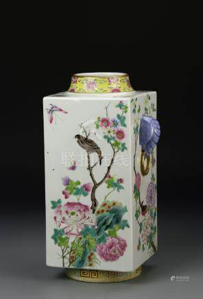Chinese Famille Rose Cong-Form Vase