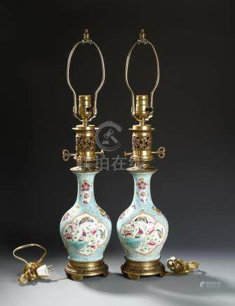 Chinese Pair of Famille Rose Vases, Mounted as Lamps