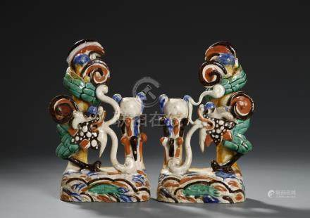 Chinese Pair of Wucai Candlesticks