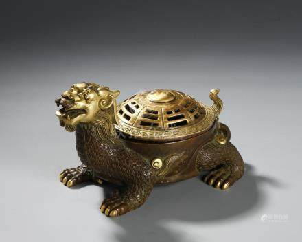 Chinese Gilt-Bronze Mythical Beast Incense Burner