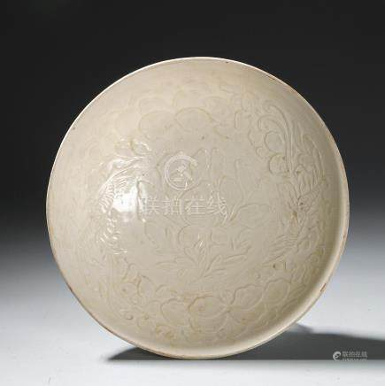 Chinese White Glazed Ding Type Dish