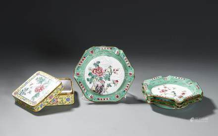 Chinese Enameled Dishes and Box