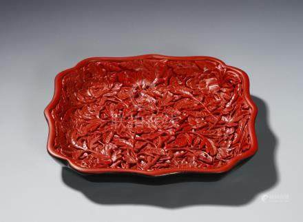 Chinese Cinnabar Lacquer Dish