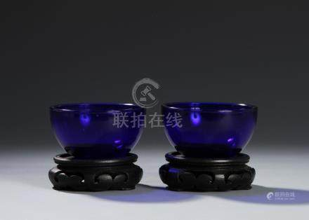 Chinese Pair of Glass Bowls