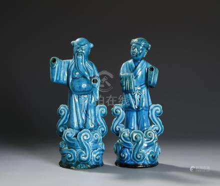 Chinese Pair of Turquoise Glazed Figures