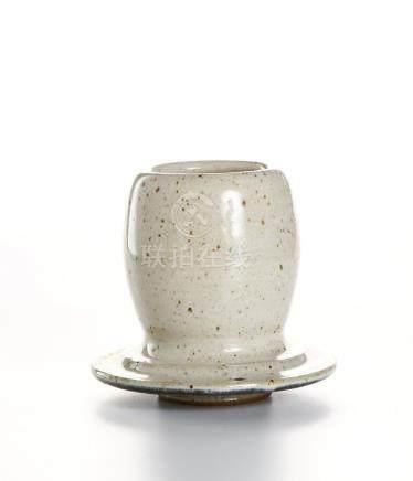 Chinese Cream Glazed Candle Holder