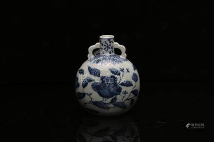 A BLUE AND WHITE MOONFLASK.ANTIQUE