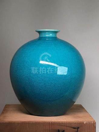 Japanese Peacock Blue Vase