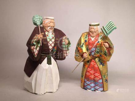 Japanese Pair Wood Figurine with Lacquer