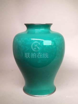 Japanese Celadon Cloisonne Vase - Ando Jubei