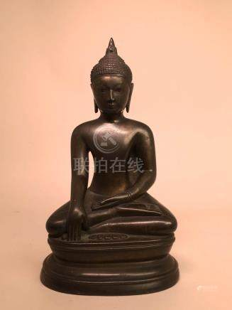 Japanese Bronze Seated Buddha with Inscription