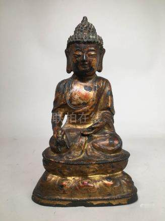 Chinese Ming Bronze Buddha with Gold Lacquer