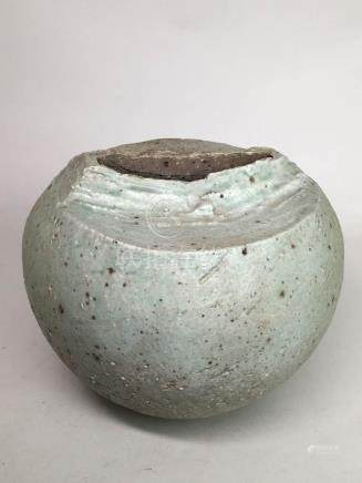 Japanese Modern Ceramic Vase with Incised Décor