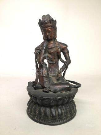 Chinese Bronze Kuanyin with Gold Lacquer
