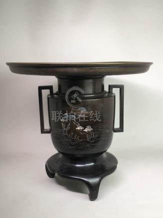 Japanese Bronze Ikebana - Silver Inlay