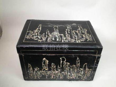 Antique Korean Lacquer Box with MOP inlay