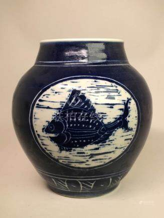 Japanese Studio Porcelain Vase - Fish