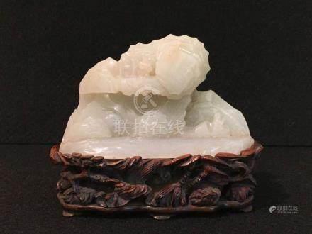 Chinese White Jade Mountain on Wood Base
