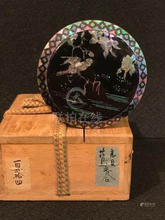 Japanese Round Lacquer Box - MOP inlay