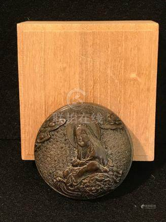 Japanese Bronze Kogo Box with Lohan