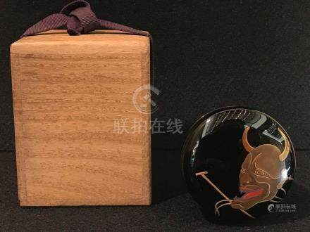 Japanese Tea Powder Lacquer Box - Mask
