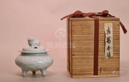 Japanese Porcelain Censer with Puppy - Makuzo Kozan