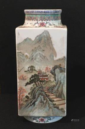 Chinese Square Vase with Landscape