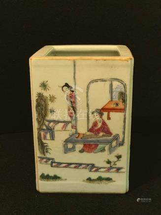 Chinese Square Porcelain Brushpot