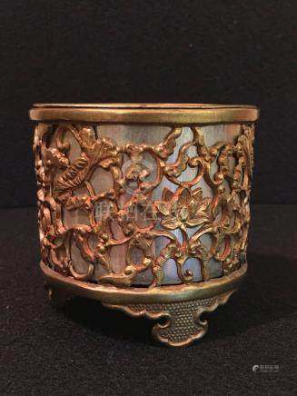 Japanese Gilt Bronze Censer - Lotus