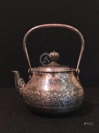 Japanese Silver Teapot - Lotus
