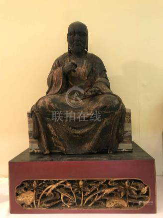 Japanese Wood Damo on Carved Wood Base