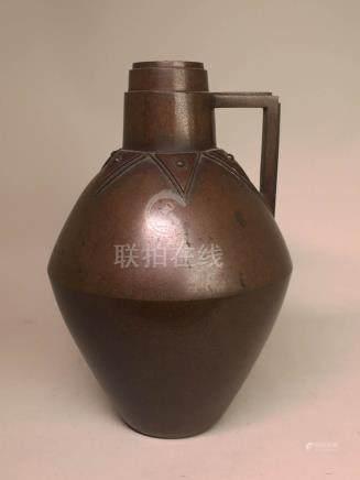 Japanese ArtDeco Bronze Vase with Handle