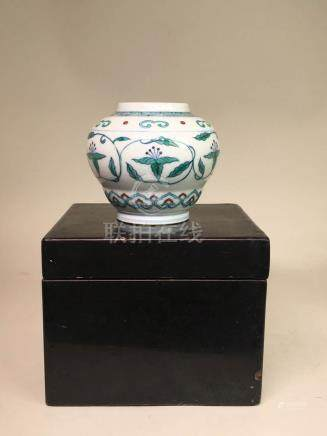 Chinese Doucai Small Jar with Black Lacquer Box