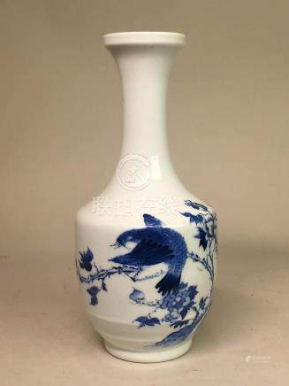 Chinese Blue White Porcelain Vase - Floral Bird