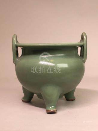 Chinese Celadon Porcelain Censer with Silver Lid