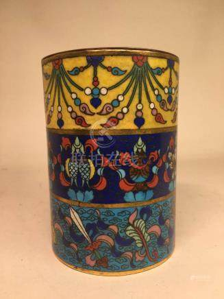 Chinese Cloisonne Box with Buddhist Praying Object