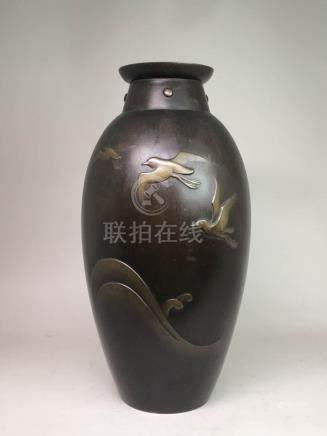 Japanese Bronze Vase - Flying Bird