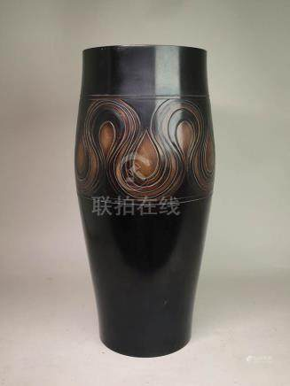 Japanese Bronze Vase with Silver Wire Inlay