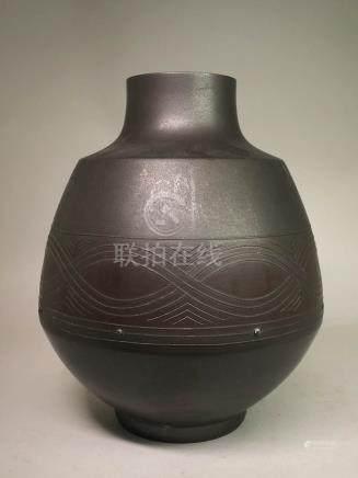Art Deco Japanese Bronze Vase - Silver Bead Inlay