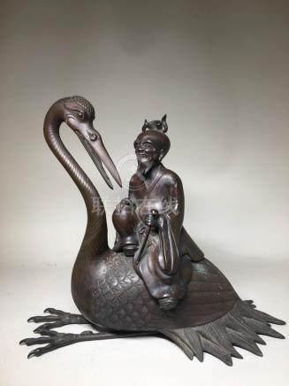 Japanese Bronze Censer of Sage on Crane