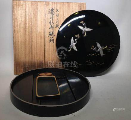 Japanese Lacquer Writing Box with Silver Cranes