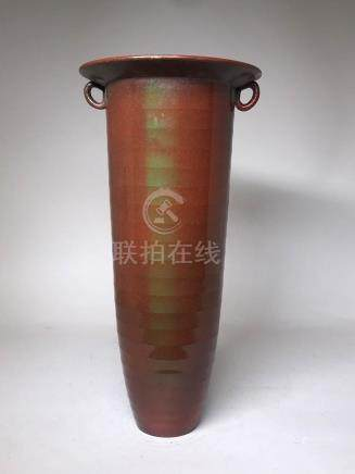 Japanese Art Deco Bronze Tall Vase