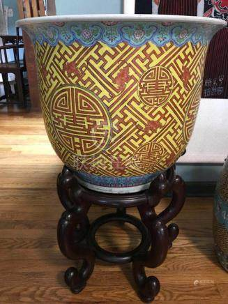 Large Chinese Yellow Porcelain Planter